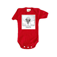 Red SKELFIE baby clothes. 0 3 6 18 months 2T bodysuit.  Funny toddler shirt sleeper.  Unisex gift for baby shower.  Hipster punk geek kid