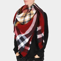 Plaid Check Knit Fringed Trim Blanket Scarf - Navy & Red