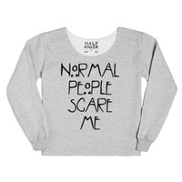 Normal People Scare Me-Female Heather Grey T-Shirt