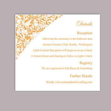 DIY Wedding Details Card Template Editable Text Word File Download Printable Details Card Orange Details Card Elegant Enclosure Cards