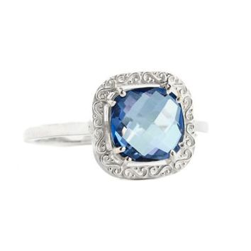 Suzanne Kalan Sterling Silver 8mm Cushion-Cut English Blue Topaz Filigree Bezel Ring