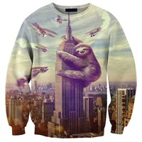 Sloth Climbing Empire State Building Graphic Print Slothzilla Sweatshirt