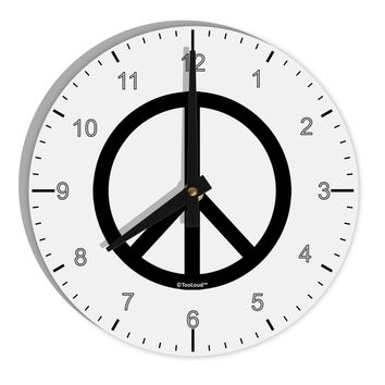 "Peace Sign Symbol 8"" Round Wall Clock with Numbers"