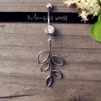 Branch Leaf Belly Button Ring- Crystal Belly Ring- Silver Branch Charm Dangle Navel Piercing Bar Barbell- B020
