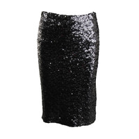 BB Dakota Womens Knit Sequined Pencil Skirt