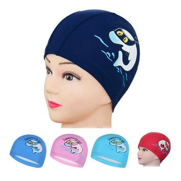 2018 New Children Swimming Cap Cartoon Dolphin Animal Printing kids PU cloth Waterproof Swim hat head Ear Protector Diving caps