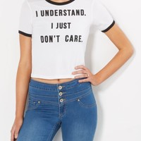 Just Don't Care Skimmer Ringer Tee | Graphic Tees | rue21