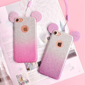 3D Minnie Mickey Mouse Ears Case for Samsung Galaxy S8 S7 Edge S6 S5 Case For Samsung Galaxy J3 J5 J7 2016 A3 A5 A7 2017 Case