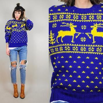 RALPH LAUREN vtg 80's fairisle handknit wool Reindeer Christmas SWEATER novelty woodla