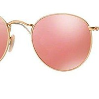 Ray Ban RB 3447 Sunglasses Gold Frame Mirror Pink Lens 50 mm