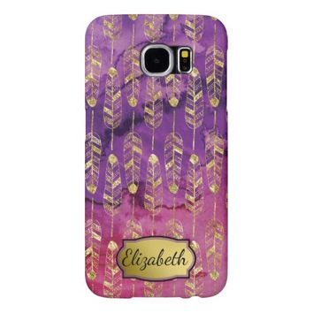 Purple & Pink Watercolor Gold Feather Personalized Samsung Galaxy S6 Case