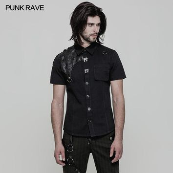 Punk Rave Rock Pu Leather Vintage Black Short Sleeve Denim Shirts Top Men Clothing WY872