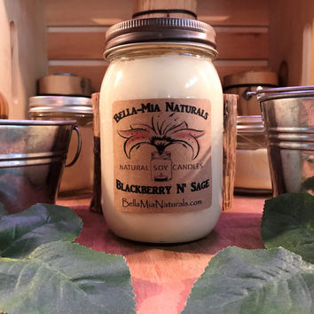 Blackberry N' Sage Natural Hand Poured Soy Candles & Melts