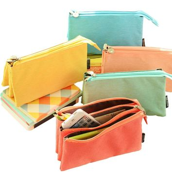 UQueen® Fashion Creative Candy Color Three Layer Large Capacity Zipper Cosmetic Makeup Storage Bag,Simple Lovely Cute Canvas Multi-functional Stationery Pencil Pen Case Bag (Orange)
