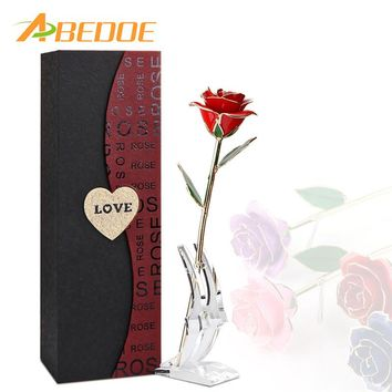 ABEDOE Valentine's Day 24K Gold Artificial Rose with Transparent Stand and Exquisite Gift Box Wedding Decoration for Lover Bride