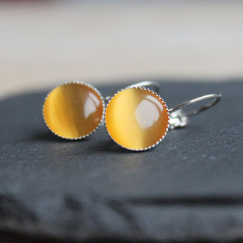 bright yellow orange cateye cabochon earrings silver - simple earrings for girls, women - everyday jewelry