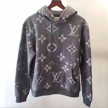 LV Fashion Women/Men Print  Long Sleeve hooded Pullover Sweatshirt Top Sweater hoodie
