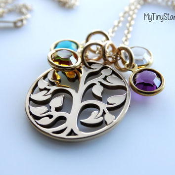 Gold Tree of life Pendant Tree necklace Gold Tree jewelry Gold Personalized family tree Family Tree Jewelry birthstone necklace Mother