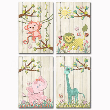 Wood nursery art rustic kids room wall decor brother and sister decoration safari animals elephant monkey giraffe artwork pink mint coral