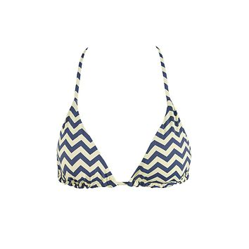 Reversible Triangle Bikini Top - Yellow & Gray Chevron Print