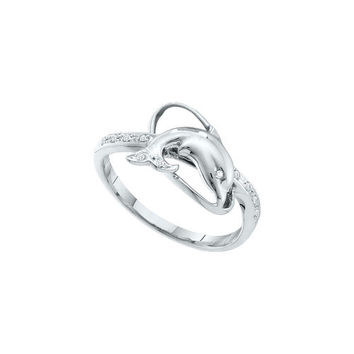 10kt White Gold Womens Round Diamond Dolphin Fish Animal Ring 1/20 Cttw
