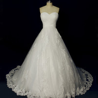 Gorgeous Custom Made Ball Style Wedding Dress, Tulle and Applique Used Strapless Princess Style Wedding Gown
