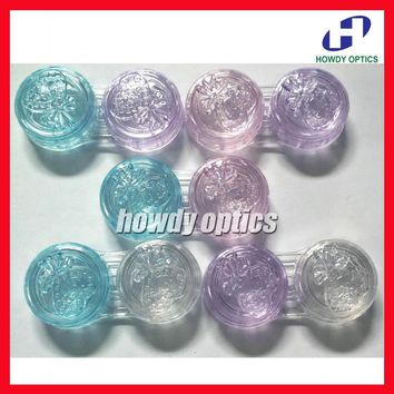 100pcs/lot Promotional Gift Contact Lenses Case Contact Lens Case Double Partner Box  With Colorful Strawberry Lid Free Shipping