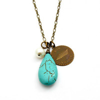 Turquoise Charm Necklace Travel Jewelry Bon Voyage