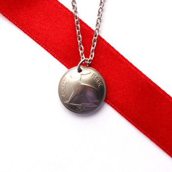 Rabbit Necklace, Domed Coin, 3 Pence, 1963, Ireland, Irish Hare, Harp, Vintage Jewelry by Hendywood