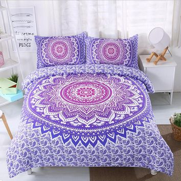FANAIJIA bohemian duvet and bedding sets boho printed 3d Mandala 3pcs Pillowcase single double AU size Bedlinen