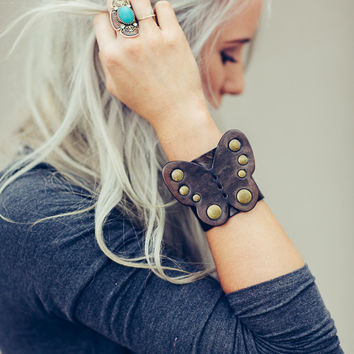 Butterfly Leather Bohemian Cuff