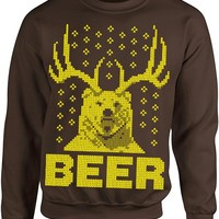 Ugly Christmas Sweater - The Beer Bear Deer Brown