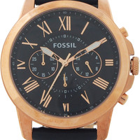 fossil - fs4835p grant chronograph navy leather watch