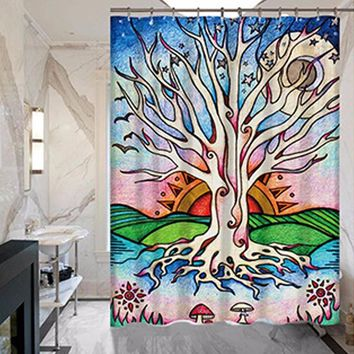 Bathroom Color Tree Prints Shower Curtains Do Not Fade Polyester Waterproof Curtains Bathroom Bathroom Curtains MYSC61