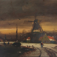Ice Skaters Dutch Windmill Painting Sail Boat Oil Painting