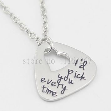 "2016 new Hand Stamped Guitar Pick ""I'd pick you every time""necklace Anniversary Unique Gift for Boyfriend/Husband Jewelry"