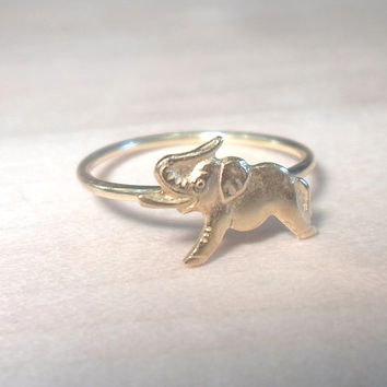 Tiny Elephant Knuckle Ring-Layering Above the Knuckle Ring Gold Brass Stackable Midi Ring