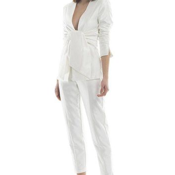 White High Waist Capri Dress Pants