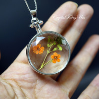 Real Dried Flowers Necklace - Terrarium Necklace ,Dry Flower Glass Bottle Neckla