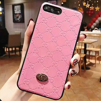 GUCCI Fashion New More Letter Women Men Protective Case Phone Case Pink