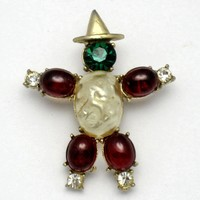 Early Coro First Mark Mabe Pearl Cabochon Figural Scarecrow Brooch