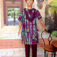 Ken Doll African Style Pant Suit - Long Dashiki with Pants, Kufi Cap, and Shoes.