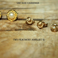Vintage Earrings - Earring Lot - 3 Pairs - Gold Earrings - Pearl Earrings - Gold Knot Earrings - Post Earrings - 1980s - 1990s