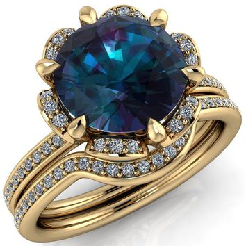 Daisy Round Alexandrite Floral Diamond Basket Design and Diamond Shoulders Ring