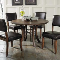 102009 Cameron 5-Piece Round Wood Base Dining Set with Parson Chairs - Free Shipping!
