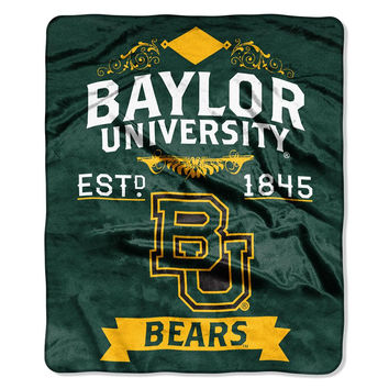 Baylor Bears NCAA Royal Plush Raschel Blanket (Label Series) (50x60)