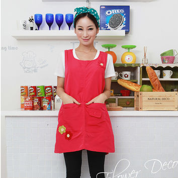 Hot Sleeveless High Qaulity Kindergarten Clothes Kitchen Apron For Woman Cooking Coffee Tea Nail Shop Work Wear print logo