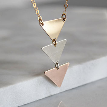 Triple Triangle Necklace in Mixed Metals, Arrow Necklace in 24k gold fill, sterling silver, and rose gold, pennant necklace