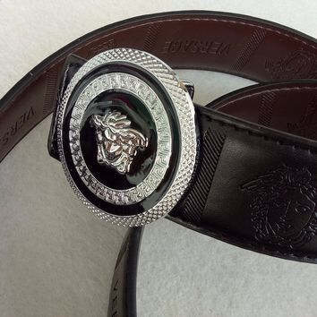 Black Size 110CM/43 Versace Medusa Black Leather Men's Belt