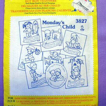 "Aunt Martha's ""Monday's Child"" Hot Iron Transfer Pattern 3827 for Embroidery, Fabric Painting, Needle Crafts"